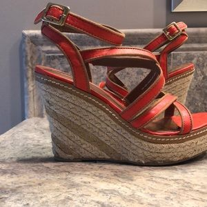 Orange wedge sandals size 7.5